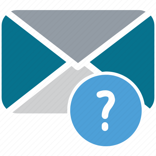 envelope, mail, question mark, unread mail icon