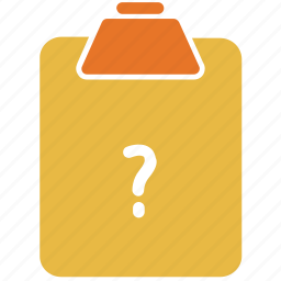 clipboard, question mark, unchecked, unchecked paper icon