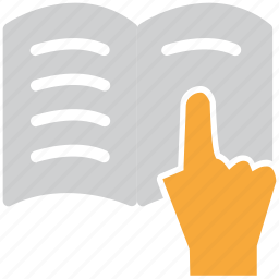 book, hand sign, learning, studying icon