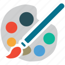 paint, paint brush, painting palette, palette icon