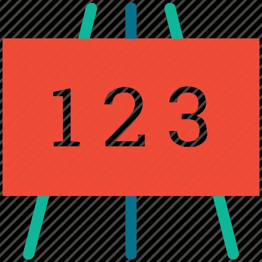 digits 123, education, school, writing board icon