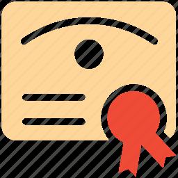 award, certificate, diploma, success icon