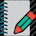 diary, notebook, pencil, write