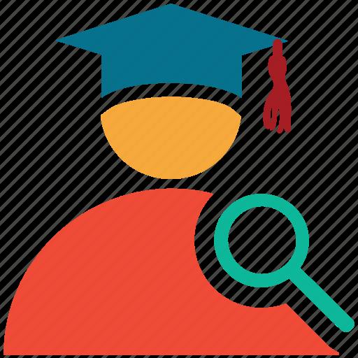 graduate, magnifier, search, student icon