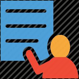 classroom, student, writing, writing board icon