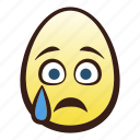 crying, easter, egg, emoji, face, head icon