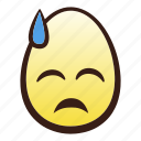 downcast, easter, egg, emoji, face, head, sweat icon