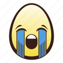 crying, easter, egg, emoji, face, head, loudly icon