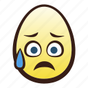 easter, egg, emoji, face, head, relieved, sad icon