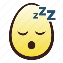 easter, egg, emoji, face, head, sleeping icon