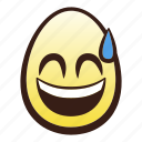 easter, egg, emoji, head, mouth, smiling, sweat icon