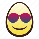 easter, egg, emoji, face, head, smiling, sunglasses icon