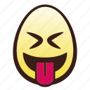 easter, egg, emoji, face, head, squinting, tongue icon