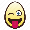 easter, egg, emoji, face, head, tongue, winking icon