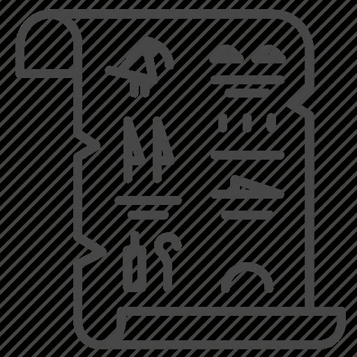 Ancient, document, egypt, paper, papyrus icon