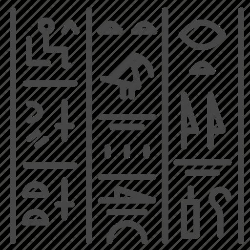 ancient, egypt, egyptian, font, incomprehensible, language icon