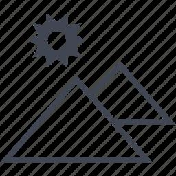 egyptian, hieroglyphs, pyramids, sun, two icon