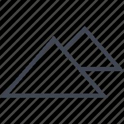 egyptian, hieroglyphs, pyramids, two icon