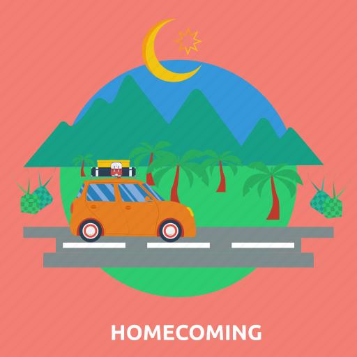 car, eid, homecoming, islam, ramadan, religion, road icon