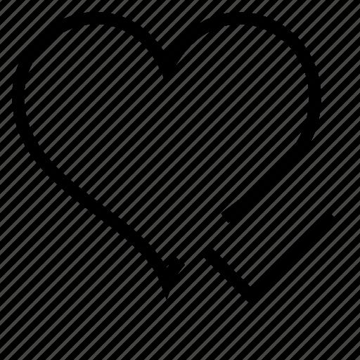 check, favorite, heart icon