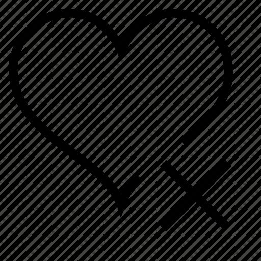 delete, favorite, heart icon
