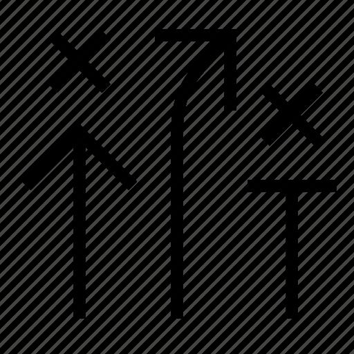 arrows, plan, strategy icon