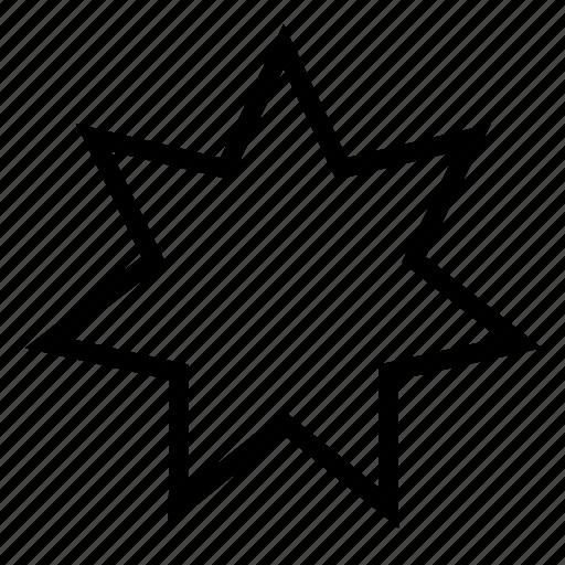 seven, shape, star icon