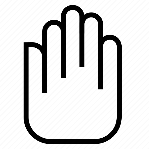 five, hand, right, stop icon