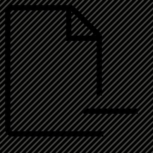 a4, delete, document, minus, paper, remove icon