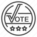 vote, elections, campaign, election, badge, medal icon