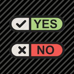 ballot, checklist, fill, no, option, paper, yes icon
