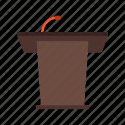 microphone, podium, public, speak, speaker, speech icon