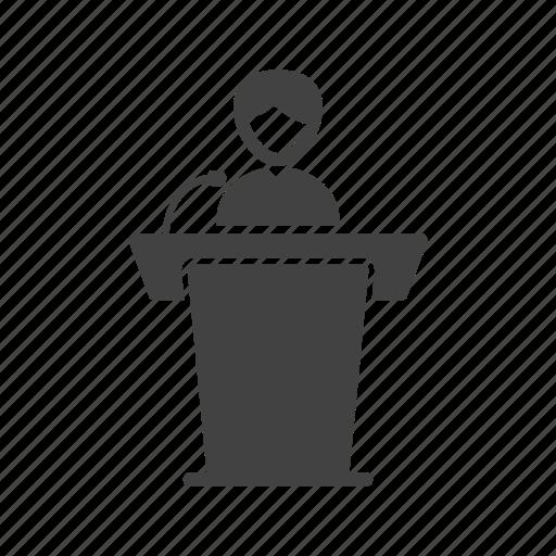 elections, meeting, people, president, seminar, speaker icon
