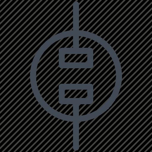 circuit, diagram, electric, electronic, socket, unpolarized socket icon
