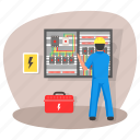 main board, distribution board, panelboard, breaker panel, electrical panel, toolkit, tool bag icon