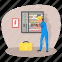 main board, distribution board, panelboard, breaker panel, electrical panel, technician, electrician icon