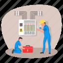 distribution board, main board, panelboard, breaker panel, electrical panel, technicians icon