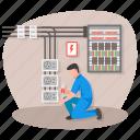 main board, distribution board, panelboard, breaker panel, electrical panel, maintenance, electrician icon
