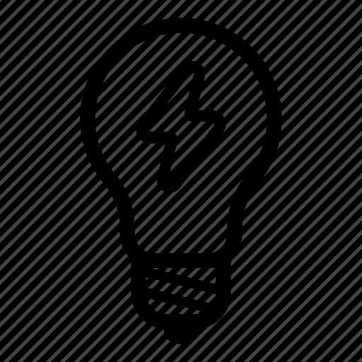 electricity, energy, idea, light, lightbulb, lightning, sun icon
