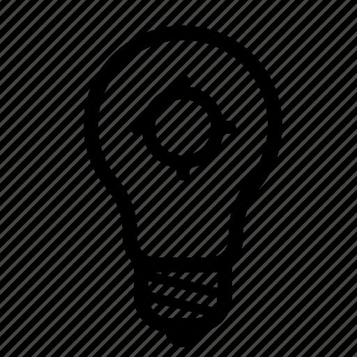 electric, electricity, energy, idea, light, lightbulb, target icon