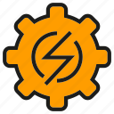bolt, cog, electricity, gear, high voltage, thunderbolt icon