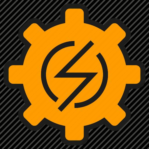 bolt, cog, electricity, gear, high voltage, thunderbolt icon