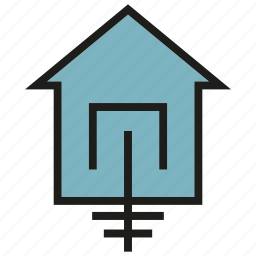 currency, electricity, ground, house icon