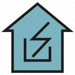 currency, electricity, energy, high voltage, house, power icon