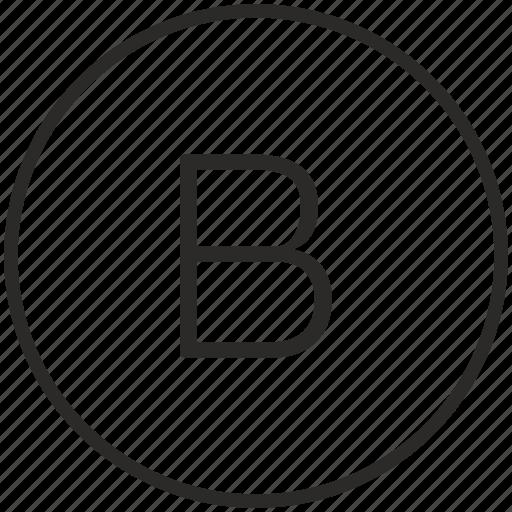 b, key, keyboard, letter, round icon