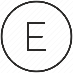 e, key, keyboard, letter, round icon