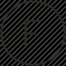 f, key, keyboard, letter, round icon