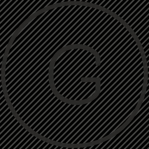 g, key, keyboard, letter, round icon