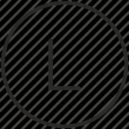 key, keyboard, l, letter, round icon