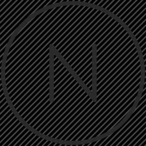 key, keyboard, letter, n, round icon